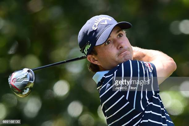 Kevin Kisner plays his tee shot on the fifth hole during the final round of the 2017 RBC Heritage at Harbour Town Golf Links on April 16 2017 in...