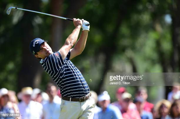 Kevin Kisner plays his tee shot on the ninth hole during the final round of the 2017 RBC Heritage at Harbour Town Golf Links on April 16 2017 in...