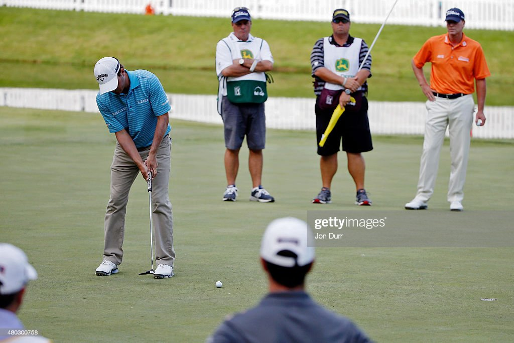 Kevin Kisner putts a birdie on the 18th hole during the second round of the John Deere Classic held at TPC Deere Run on July 10, 2015 in Silvis, Illinois.
