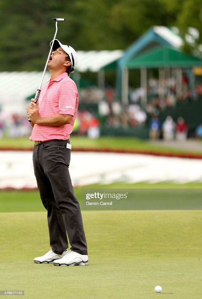 Kevin Kisner reacts to a missed birdie putt on the 18th hole during the final round of the Greenbrier Classic held at The Old White TPC on July 5, 2015 in White Sulphur Springs, West Virginia.