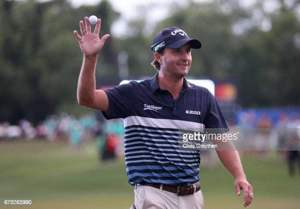 Kevin Kisner reacts to his eagle putt on the 18th hole during the final round of the Zurich Classic at TPC Louisiana on April 30 2017 in Avondale...