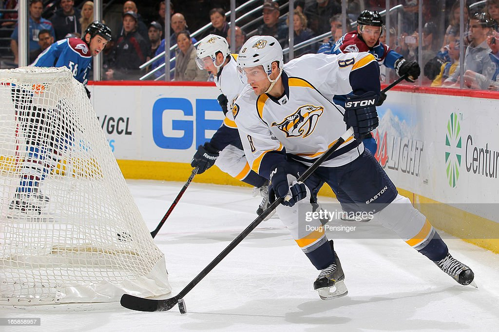 Kevin Klein #8 of the Nashville Predators controls the puck against the Colorado Avalanche at the Pepsi Center on March 30, 2013 in Denver, Colorado. The Avalanche defeated the Predators 1-0 in overtime.