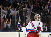 Kevin Klein of the New York Rangers celebrates his game winning goal at 345 of overtime against the Pittsburgh Penguins at Madison Square Garden on...