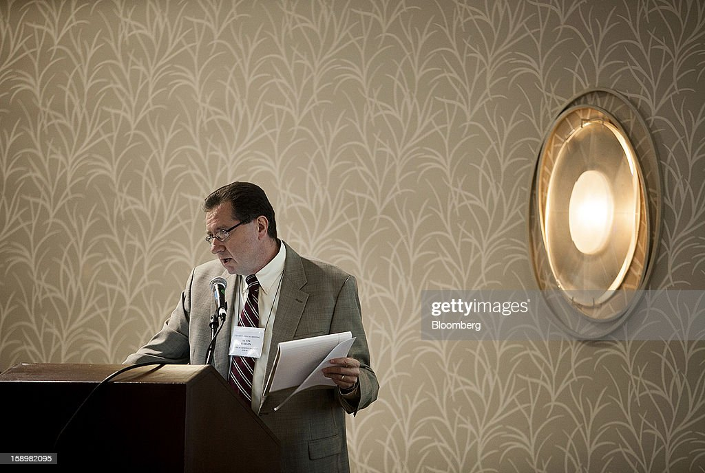 Kevin Kliesen, an economist at the Federal Reserve of St. Louis, speaks at the American Economic Association's annual meeting in San Diego, California, U.S., on Friday, Jan. 4, 2013. One day after the Federal Reserve put forth dates at which it might end $85 billion a month of bond purchases, James Bullard, president of the Federal Reserve Bank of St. Louis, described the economic conditions that may warrant a halt to the policy. Photographer: Sam Hodgson/Bloomberg via Getty Images