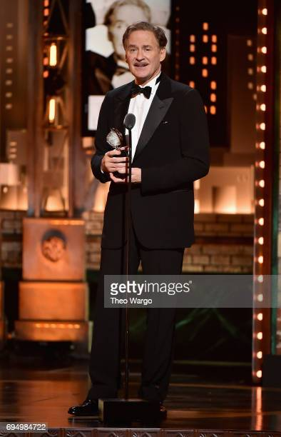 """Kevin Kline accepts the award for Best Performance by an Actor in a Leading Role in a Play for """"Present Laughter"""" onstage during the 2017 Tony Awards..."""