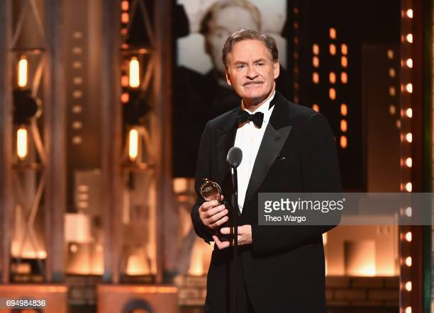 "Kevin Kline accepts the award for Best Performance by an Actor in a Leading Role in a Play for ""Present Laughter"" onstage during the 2017 Tony Awards..."