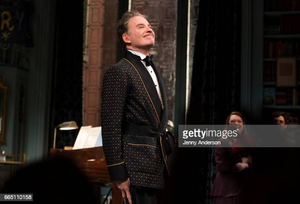 Kevin Kline during curtain call of 'Present Laughter' opening night at St James Theatre on April 5 2017 in New York City