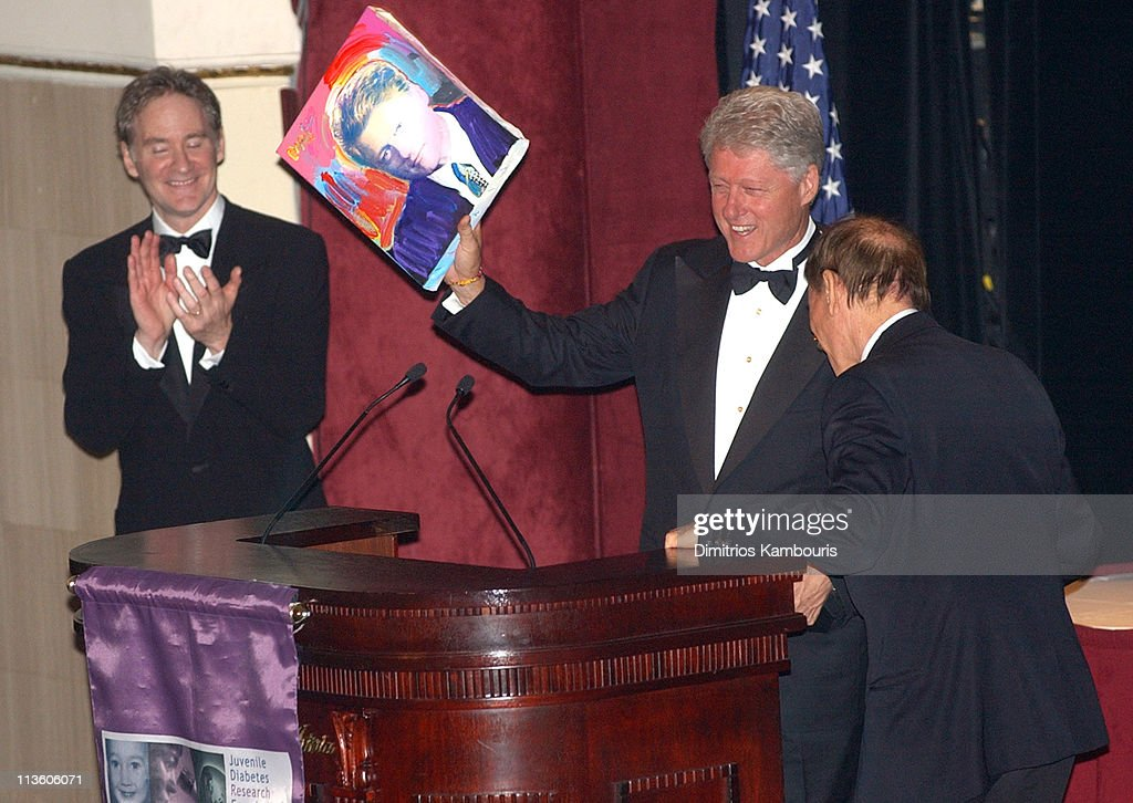 Kevin Kline former President Bill Clinton and Peter Max