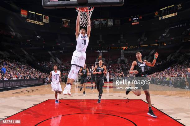 Kevin Knox II of the USA Junior Select Team dunks against the World Select Team during the game on April 7 2017 at the MODA Center Arena in Portland...