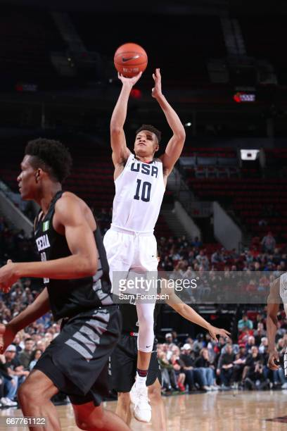 Kevin Knox II of the USA Junior Select Team shoots against the World Select Team during the game on April 7 2017 at the MODA Center Arena in Portland...