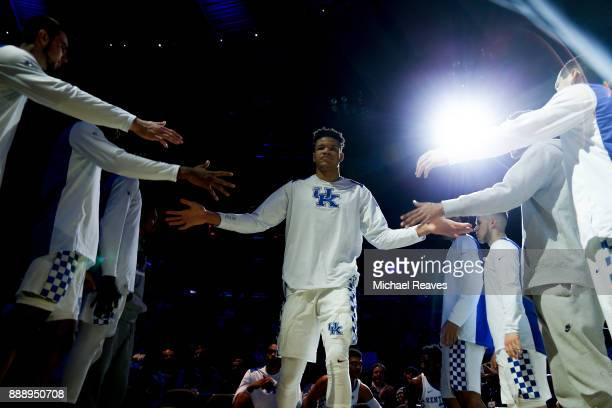 Kevin Knox of the Kentucky Wildcats is introduced prior to the game against the Monmouth Hawks at Madison Square Garden on December 9 2017 in New...