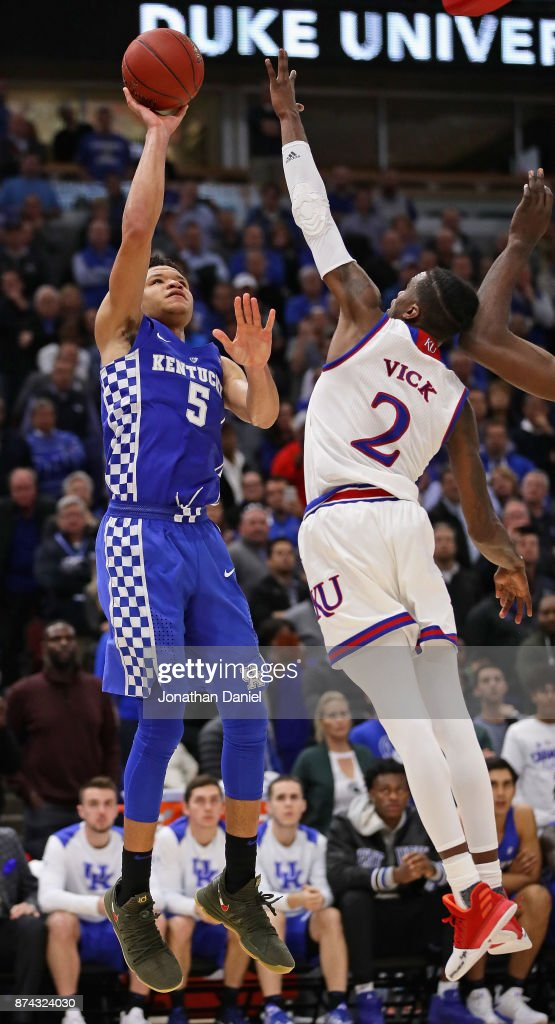 Kevin Knox #5 of the Kentucky Wildcats shoots over Lagerald Vick #2 of the Kansas Jayhawks on his way to a game-high 20 points during the State Farm Champions Classic at the United Center on November 14, 2017 in Chicago, Illinois. Kansas defeated Kentucky 65-61.