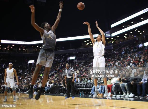Kevin Knox shoots for three during the Jordan Brand Classic National Boys Team AllStar basketball game at The Barclays Center on April 14 2017 in New...