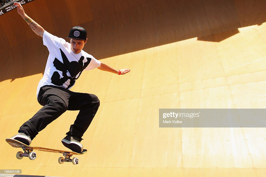 Kevin Kowalski of the USA skates in the Beach Bowl skateboarding competition during the 2012 Australian Surfing Open on February 19, 2012 in Manly, Australia.