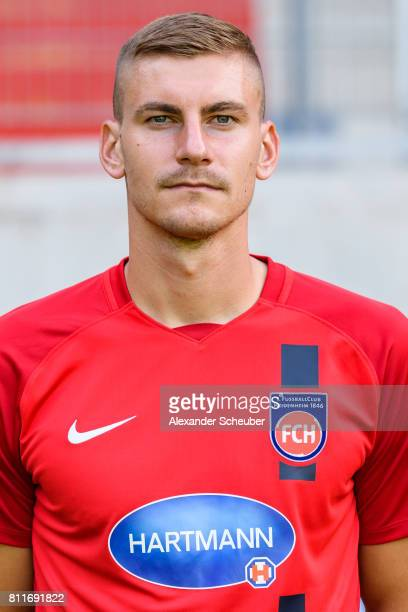 Kevin Kraus of 1 FC Heidenheim poses during the team presentation at Voith Arena on July 8 2017 in Heidenheim Germany