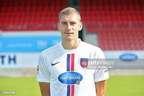 Kevin Kraus poses during the 1 FC Heidenheim team presentation at VoithArena on July 3 2015 in Heidenheim Germany