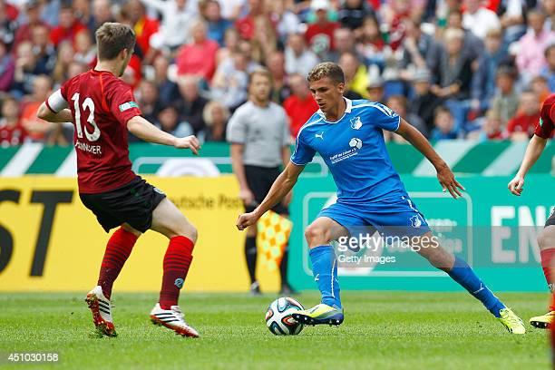Kevin Krottke of Hannover challenges Grischa Proemel of Hoffenheim during the A Juniors Bundesliga Final between Hannover 96 and 1899 Hoffenheim at...