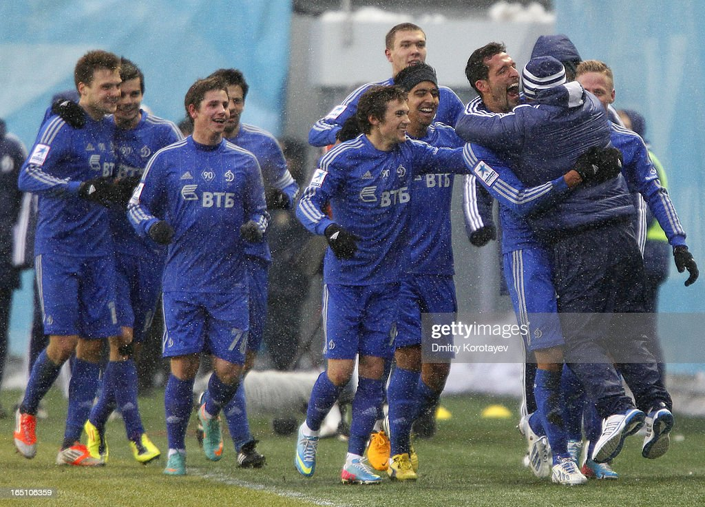 <a gi-track='captionPersonalityLinkClicked' href=/galleries/search?phrase=Kevin+Kuranyi&family=editorial&specificpeople=202968 ng-click='$event.stopPropagation()'>Kevin Kuranyi</a> of FC Dynamo Moscow celebrates with head coach Dan Petrescu (R) after scoring the opening goal during the Russian Premier League match between FC Dynamo Moscow and FC Rostov Rostov-on-Don at the Arena Khimki Stadium on March 30, 2013 in Khimki, Russia.