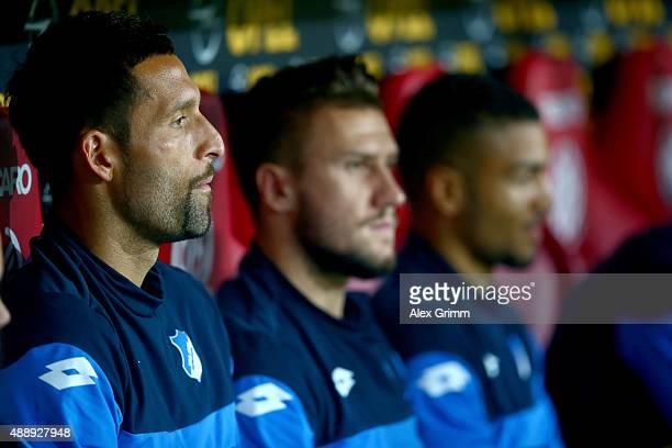 Kevin Kuranyi of Hoffenheim sits on the bench before the Bundesliga match between 1 FSV Mainz 05 and 1899 Hoffenheim at Coface Arena on September 18...