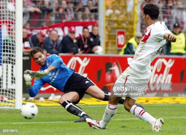 Kevin Kuranyi of Stuttgart scores the first goal during the Bundesliga match between 1 FC Kaiserslautern and VfB Stuttgart on August 8 2004 in...