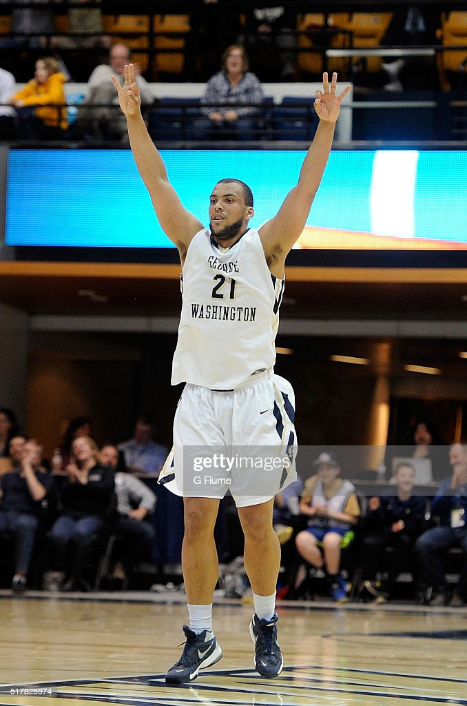 Kevin Larsen of the George Washington Colonials celebrates during the game against the George Mason Patriots at the Charles E Smith Athletic Center...
