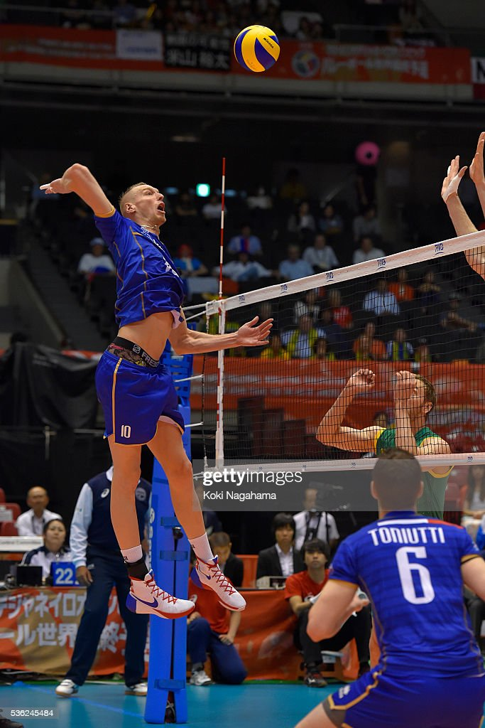 Kevin Le Roux #10 of France spikes the ball during the Men's World Olympic Qualification game between France and Australia at Tokyo Metropolitan Gymnasium on June 1, 2016 in Tokyo, Japan.