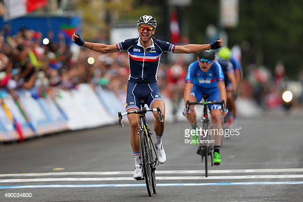 Kevin Ledanois of France celebrates winning the Men's U23 Road Race on day six of UCI Road World Championships on September 25 2015 in Richmond...