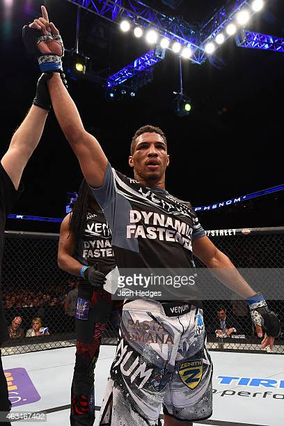 Kevin Lee celebrates after defeating Michel Prazeres by unanimous decision in their lightweight fight during the UFC Fight Night event inside 1stBank...