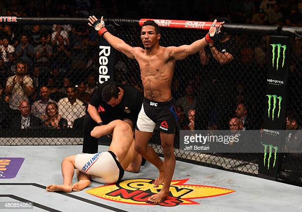 Kevin Lee celebrates his submission victory over James Moontasri in their lightweight bout during the UFC event at the Valley View Casino Center on...