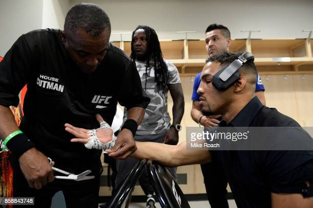 Kevin Lee has his hands wrapped prior to his bout against Tony Ferguson during the UFC 216 event inside TMobile Arena on October 7 2017 in Las Vegas...