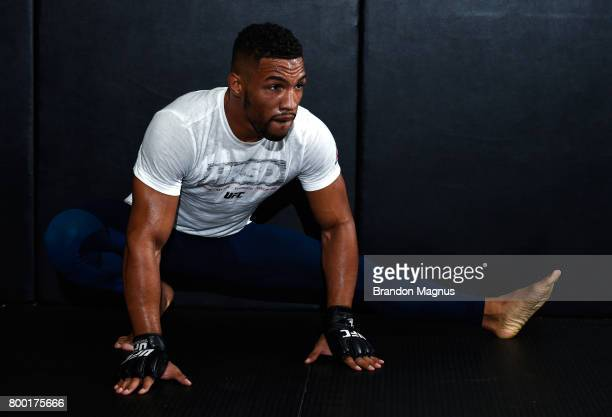 Kevin Lee holds an open workout session for the fans and media at Lovatos School of Brazilian JiuJitsu on June 23 2017 in Oklahoma City Oklahoma