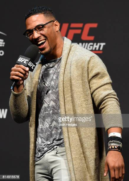 Kevin Lee interacts with fans during a QA session before the UFC Fight Night weighin at the SSE Hydro Arena Glasgow on July 15 2017 in Glasgow...