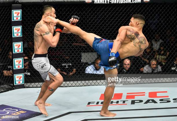 Kevin Lee kicks Tony Ferguson in their interim UFC lightweight championship bout during the UFC 216 event inside TMobile Arena on October 7 2017 in...