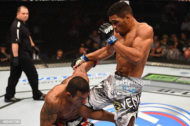 Kevin Lee lands a knee to the body of Michel Prazeres in their lightweight fight during the UFC Fight Night event inside 1stBank Center on February...