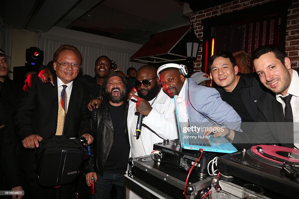 Kevin Lee, Meek Mill, Mr.Brainwash, Rick Ross, DJ Irie, Kevin Lee and DJ Cobra attend House Of Hype Monster Grammy Party at House Of Hype on February 10, 2013 in Los Angeles, California.