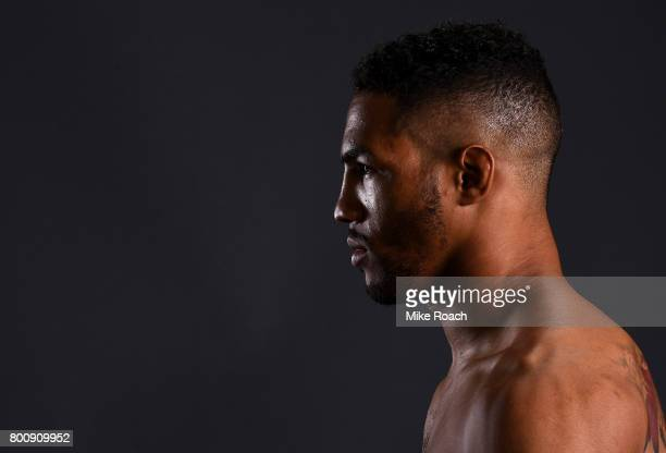 Kevin Lee poses for a portrait backstage after his victory over Michael Chiesa during the UFC Fight Night event at the Chesapeake Energy Arena on...