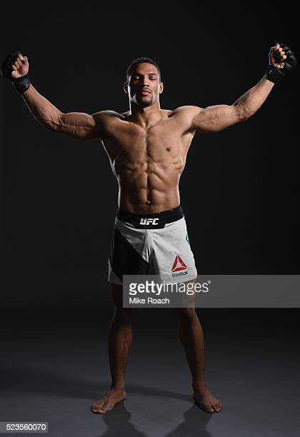 Kevin Lee poses for a portrait backstage during the UFC 197 event inside MGM Grand Garden Arena on April 23 2016 in Las Vegas Nevada
