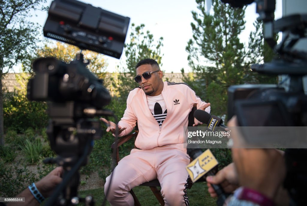 Kevin Lee speaks to the media during the UFC 215 & UFC 216 Title Bout Participants Las Vegas Media Day at the UFC Headquarters on August 24, 2017 in Las Vegas, Nevada.