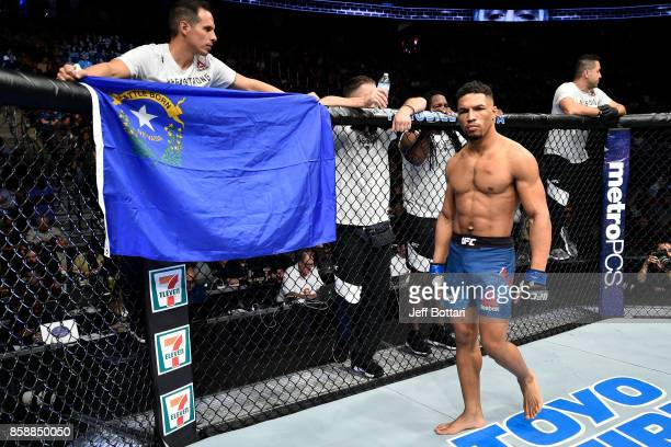 Kevin Lee stands in the Octagon prior to his interim UFC lightweight championship bout against Tony Ferguson during the UFC 216 event inside TMobile...