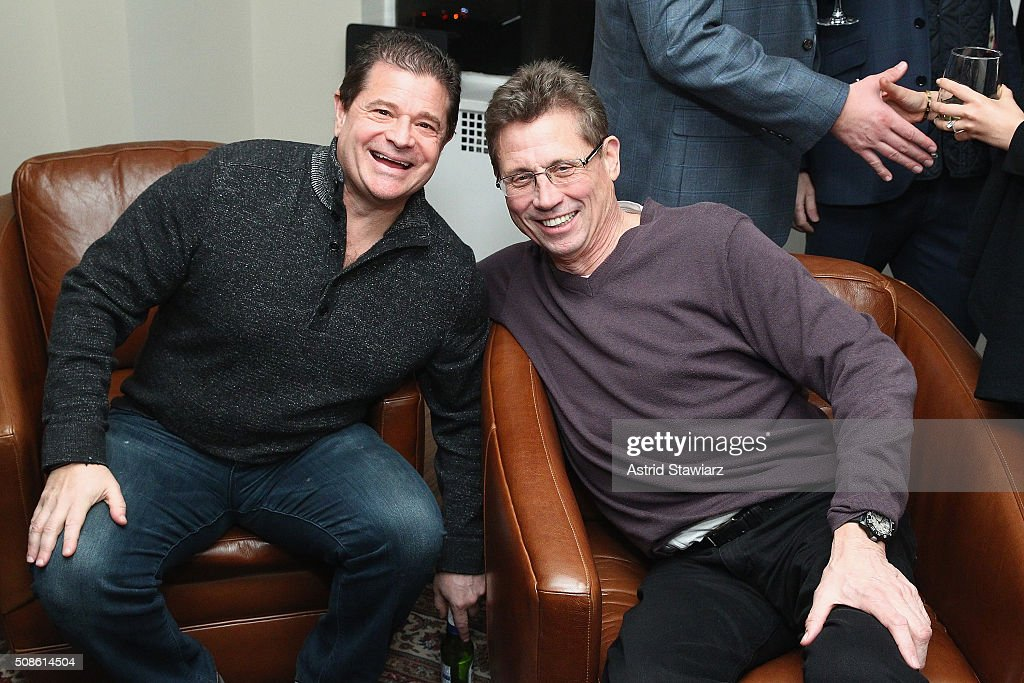 Kevin Levinson (L) and Dan Caspersen attend an intimate evening of friends and colleagues at Mr. Colin Dougherty's New York City apartment on February 5, 2016 in New York City.