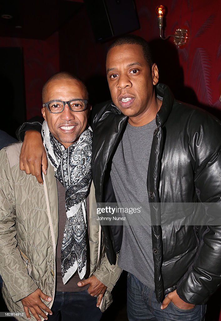 Kevin Liles and Jay-Z attend Kevin Liles' 45th Birthday Party at The Rec Room on February 27, 2013 in New York City.