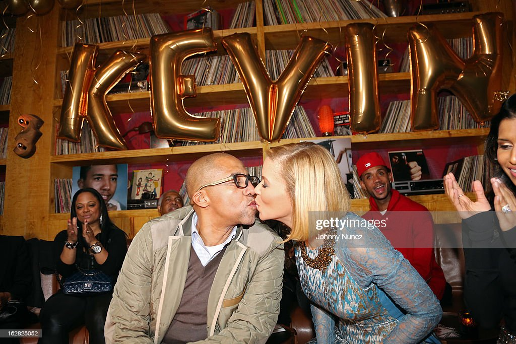 Kevin Liles and wife Erika Liles celebrate Kevin Liles' 45th birthday at The Rec Room on February 27, 2013, in New York City.