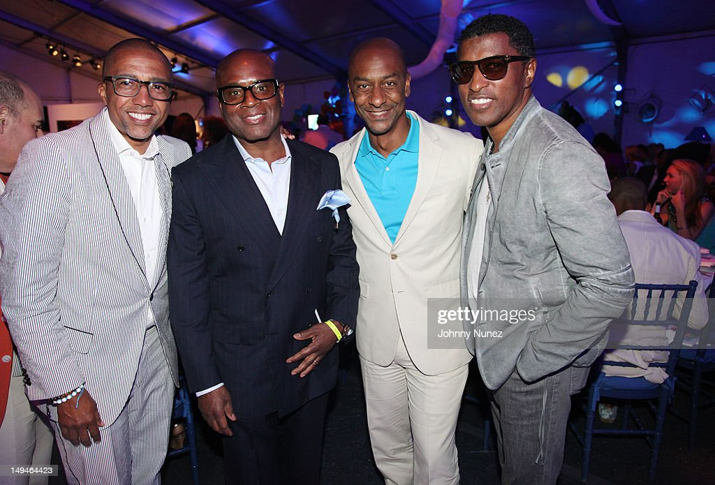 <a gi-track='captionPersonalityLinkClicked' href=/galleries/search?phrase=Kevin+Liles&family=editorial&specificpeople=236082 ng-click='$event.stopPropagation()'>Kevin Liles</a>, L.A Reid, Stephen Hill and Babyface attend the 13th Annual Russel Simmons Rush philanthropic ART FOR LIFE on July 28, 2012 in East Hampton, New York.