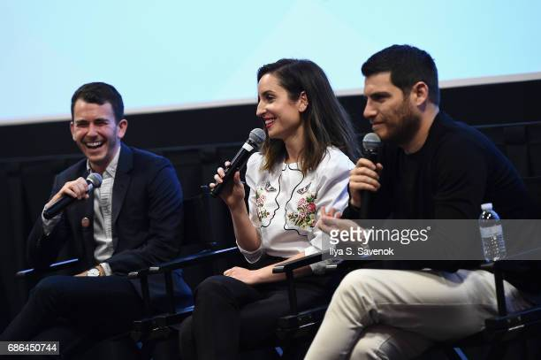 Kevin Lincoln Zoe ListerJones and Adam Pally speak at the Band Aid screening at Alamo Drafthouse Theater during Vulture Festival on May 21 2017 in...