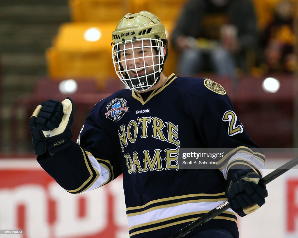 Kevin Lind #25 of the Notre Dame Fighting Irish warms up before a game against the Minnesota Gophers January 8, 2013 at Mariucci Arena in Minneapolis, Minnesota.
