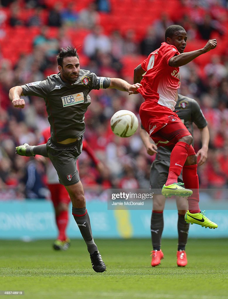 <a gi-track='captionPersonalityLinkClicked' href=/galleries/search?phrase=Kevin+Lisbie&family=editorial&specificpeople=226902 ng-click='$event.stopPropagation()'>Kevin Lisbie</a> of Leyton Orient battles with Joe Skarz of Rotherham United during the Sky Bet League One Playoff Final between Leyton Orient and Rotherham United at Wembley Stadium on May 25, 2014 in London, England.