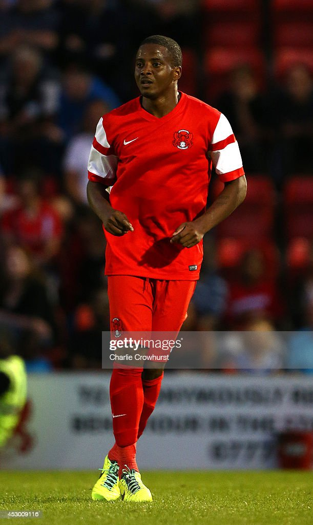 <a gi-track='captionPersonalityLinkClicked' href=/galleries/search?phrase=Kevin+Lisbie&family=editorial&specificpeople=226902 ng-click='$event.stopPropagation()'>Kevin Lisbie</a> of Leyton Orient during the Pre Season Friendly match between Leyton Orient and Queens Park Rangers at The Matchroom Stadium on July 29, 2014 in London, England.