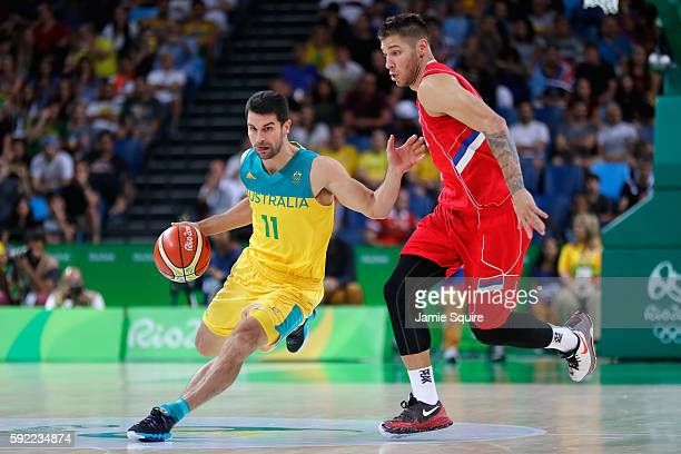 Kevin Lisch of Australia drives the ball during the Men's Semifinal match against Serbia on Day 14 of the Rio 2016 Olympic Games at Carioca Arena 1...