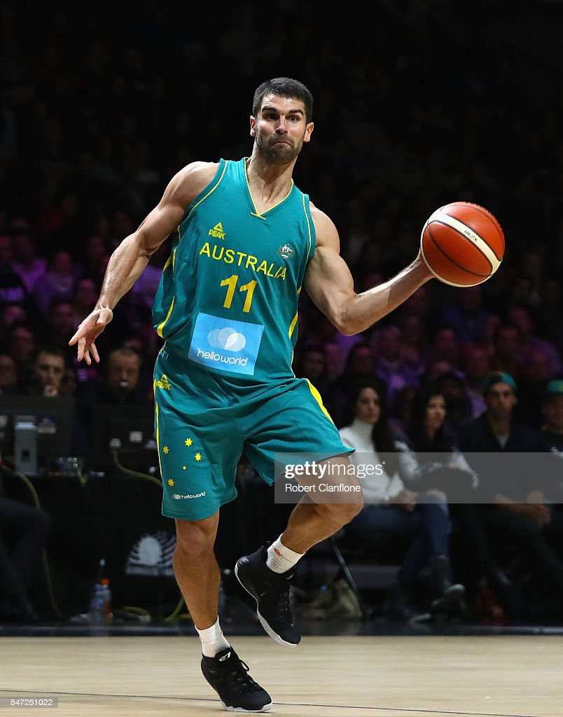 Kevin Lisch of the Boomers passes the ball during the match between the Australian Boomers and the Pac-12 College All-stars at Hisense Arena on July 14, 2016 in Melbourne, Australia.