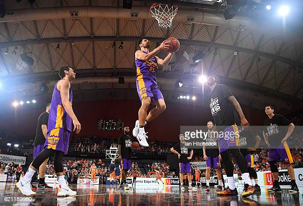 Kevin Lisch of the Kings practices a lay up during the warm before the start of the round five NBL match between the Cairns Taipans and the Sydney...